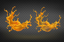 Vector Realistic Orange Splashing, Juice Or Paint Splash With Drops. Blobs, Blots Isolated On Background. Translucent And Transparent Liquid For Advertising Product, Design Element For Promo Banner.