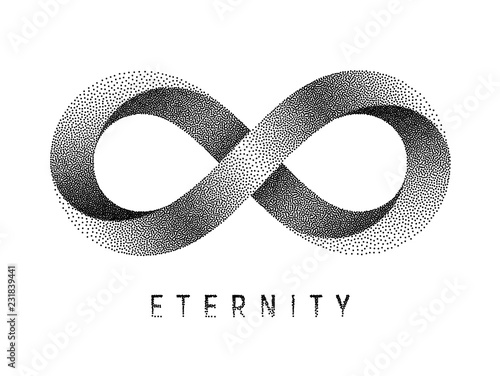 Photo Stippled Eternity sign. Mobius strip symbol. Vector illustration.