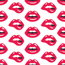 Lips Pattern. Vector Seamless ...
