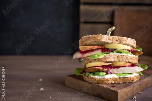 Staande foto Snack Turkey Leftover Sandwich
