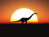 3D rendering of a dinosaur standing against a big sun at sunset.