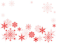 Christmas Texture, Background With Red Snowflakes In Red And Place For Text, Isolated On White