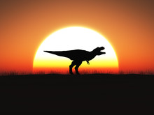 3D Rendering Of A T. Rex Dinosaur Standing Against A Big Sun At Sunset.