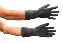 Man Hand With Black Rubber Glo...