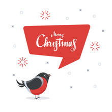 Cute Bullfinch With Red Speech Bubble. Merry Christmas. Design Greeting Card Template. Vector Illustration In Flat Style