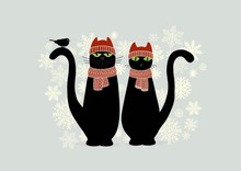 Christmas Card With Cute Cartoon Black Cats And Snowflake
