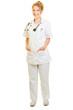canvas print picture Lächelnde Frau als Doktor Ärztin oder Krankenschwester