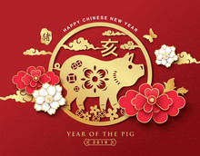 Chinese New Year 2019 Greeting With  Zodiac Sign Year Of The Pig And Flowers. Chinese Translate: Pig