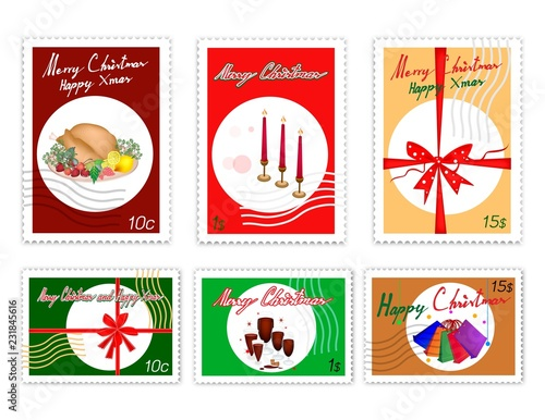 Merry Xmas, Post Stamps Set of Hand Drawn Sketch of Red Wind, Roast Turkey, Candles and Shopping Bags. Sign for Christmas Seasons.