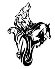 Wild Animals Vector Outlines Symbolizing Fauna Spirits - Wolf, Cougar And Horse Merged Together