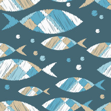 Seamless Pattern With Fishes In The Sea. Cute Cartoon. Brushwork. Hand Hatching. Doodle. Can Be Used For Wallpaper, Textile, Invitation Card, Wrapping, Web Page Background.
