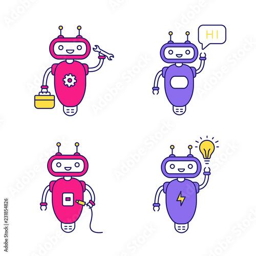 Deurstickers Chatbots color icons set
