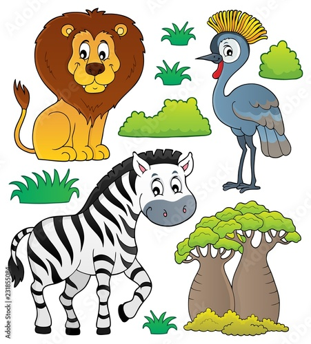 In de dag Voor kinderen African nature theme set 3