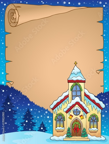 Tuinposter Voor kinderen Christmas church building parchment 1