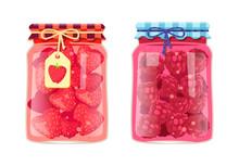 Preserved Food In Jars, Fruits...