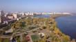 Aerial: Obolonska Quay in Obolon district in Kiyv, autumn time