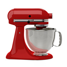Red Stand Mixer From Side On White Background Including Clipping Path