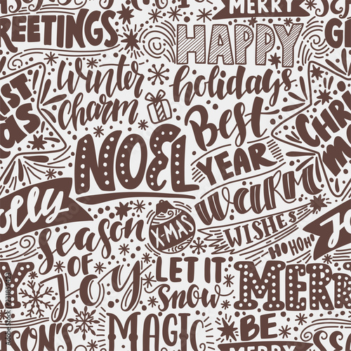 Merry christmas background with hand drawn quotes.