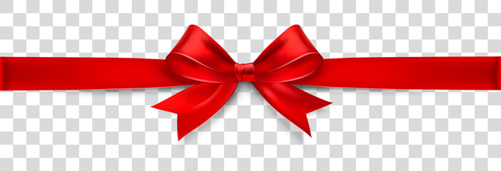 Fototapeta Red Satin Bow Isolated on Background. Vector