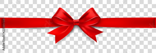 Red Satin Bow Isolated on Background. Vector Fototapete