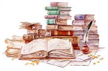 Old Books, Watercolor Illustra...