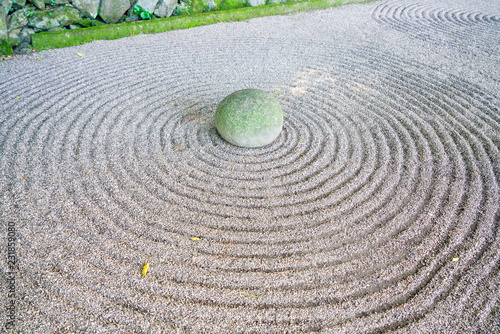 Tuinposter Asia land Zen garden and stone in Japan