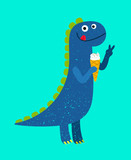 Fototapeta Dinusie - Happy cartoon blue dino with ice-cream, vector illustration