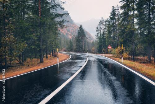 droga-w-jesien-lesie-w-deszczu-doskonala-asfaltowa-gorska-droga-w-pochmurny-deszczowy-dzien-jezdnia-z-odbiciem-i-sosnami-w-wloskich-alps-transport-pusta-autostrada-w-mglowym-lesie-wycieczka