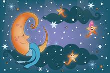 Cute Moon On The Sky, Good Night Vector Illustration Design