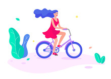 Flat Girl Riding A Bicycle. Poster With Cyclist Riding Bicycle. Cycling Poses In Trend Colors. Bicycle Road Racers.
