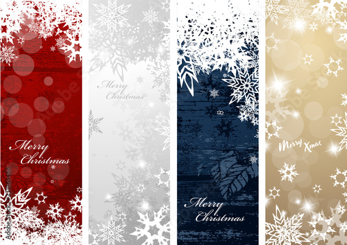 Fotografia  Set of four colorful Christmas background banners with snowflakes and simple Mer