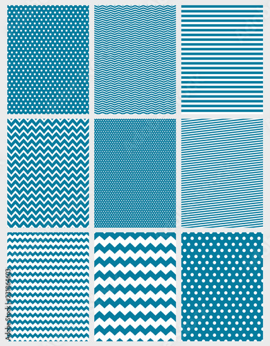 Cute Abstract Vector Patterns Set 9 Various Geometric Designs White And Blue Color Simple Two Colors Graphic Chevron Stripes Dots