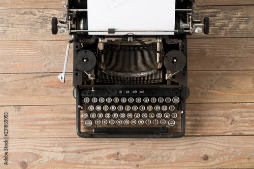 Garden Poster Retro Top view of retro style typewriter in studio