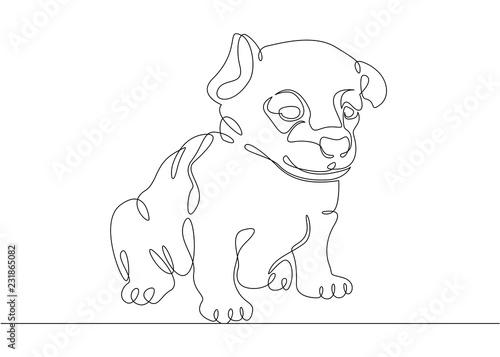 Foto op Aluminium Doe het zelf One continuous drawn single art line doodle sketch puppy