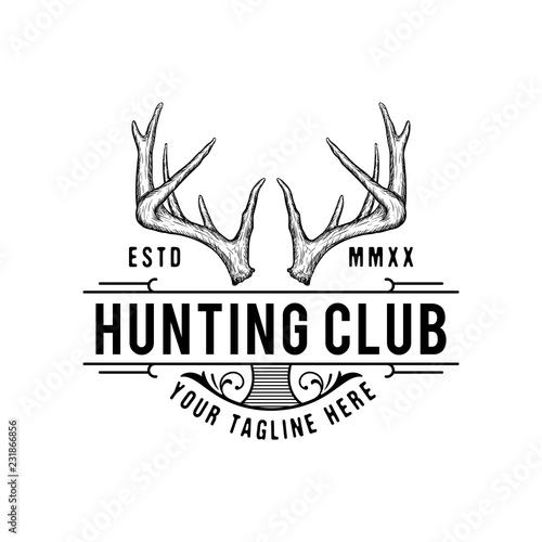Canvas-taulu Handrawn antler vector, Hunting logo design inspiration