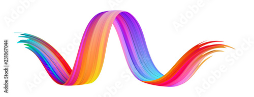 Fototapety, obrazy: Colorful gradient abstract brush stroke on white background.