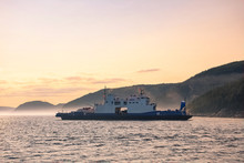 Ferry Crossing Saguenay River At Dusk, Quebec, Canada