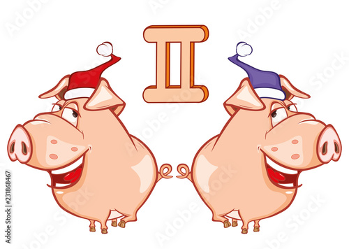 Illustration of a Cute Pig. Astrological Sign in the Zodiac Gemini. Cartoon Character