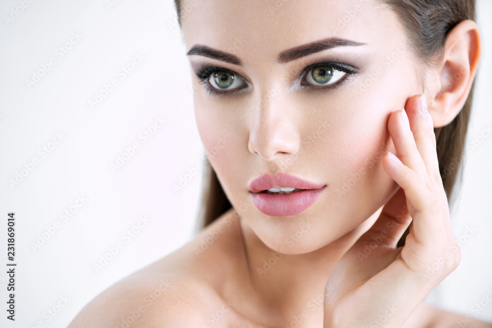 Fototapeta Beautiful young girl with beauty face