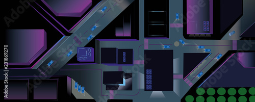 Fotografie, Obraz Night City in Neon Lights - Top View Vector of Roads, Buildings in the Night