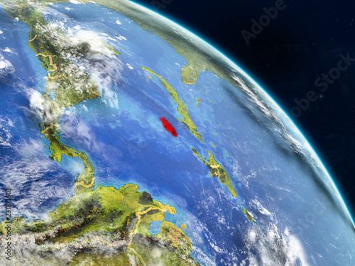 Keuken foto achterwand Nasa Jamaica from space on realistic model of planet Earth with country borders and detailed planet surface and clouds.