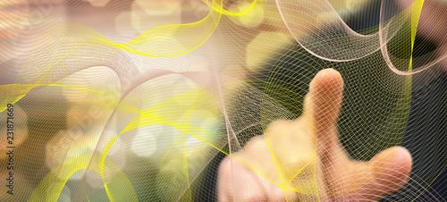 Foto op Aluminium Fractal waves Man touching an abstract wave network concept