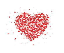 Broken Heart, Small Pieces, Particles. Abstract Vector Illustration Isolated On Light Background.