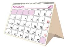 November 2019 Desk Calendar In...