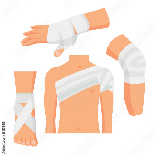 Photo Elastic Medical Bandage Set Body Parts. Vector