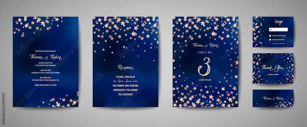Fototapety, obrazy: Save the date vector illustration with night starry sky, wedding party star celestial in vector