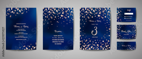 Photo Save the date vector illustration with night starry sky, wedding party star cele