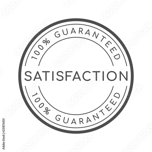 100% satisfaction guaranteed word on circle badge vector Fototapete