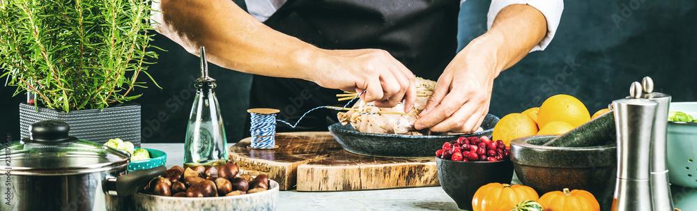 Fototapety, obrazy: Chef preparing stuffed duck