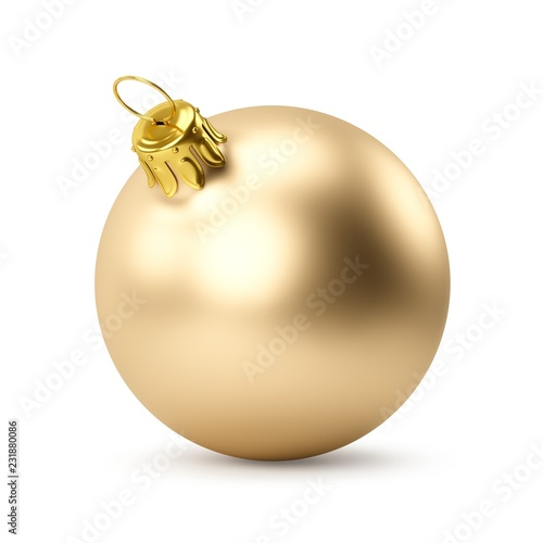 Fotografie, Obraz  3D rendering Golden Christmas Ball on a white background